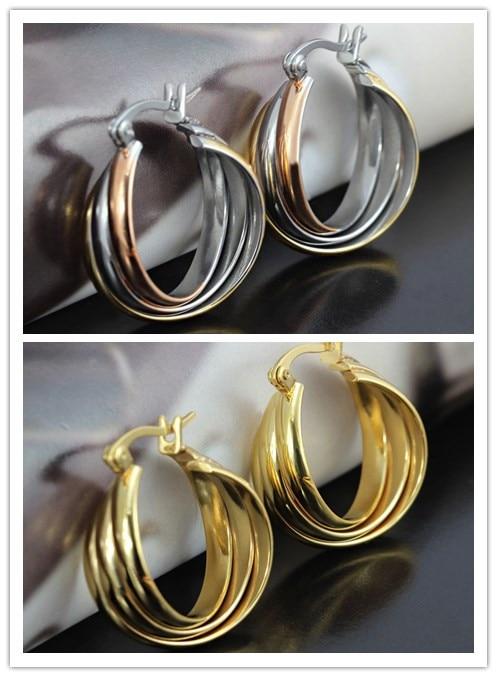 08944a4581d9 Chapado en oro plata oro 316l Acero inoxidable mujer tres anillos Pendientes  aro alergia para regalo