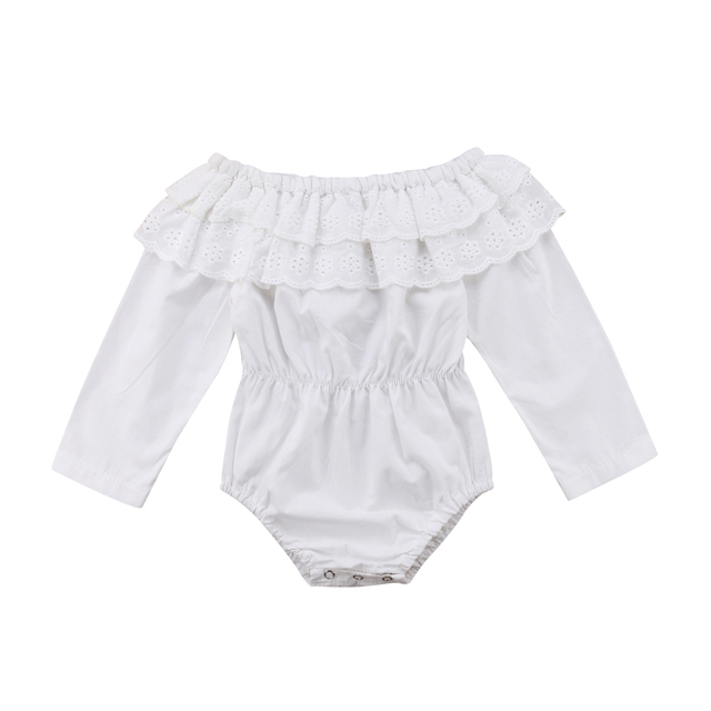 1fc1e94a6d98 0-18M Cute Newborn Baby Girl Off shoulder Long Sleeve Lace White Romper  Jumpsuit Outfits Baby Clothes