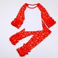 Christmas Icing Girls Clothing Set Knit Cotton Ruffle Icing Raglan Snowflake Girls Shirt Ruffle Pants Outfit 2pcs Child Clothes
