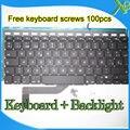 """Brand New SP Español teclado Retroiluminado teclado + Backlight + 100 unids tornillos Para MacBook Pro Retina 15.4 """"A1398 2013-2015 Años"""