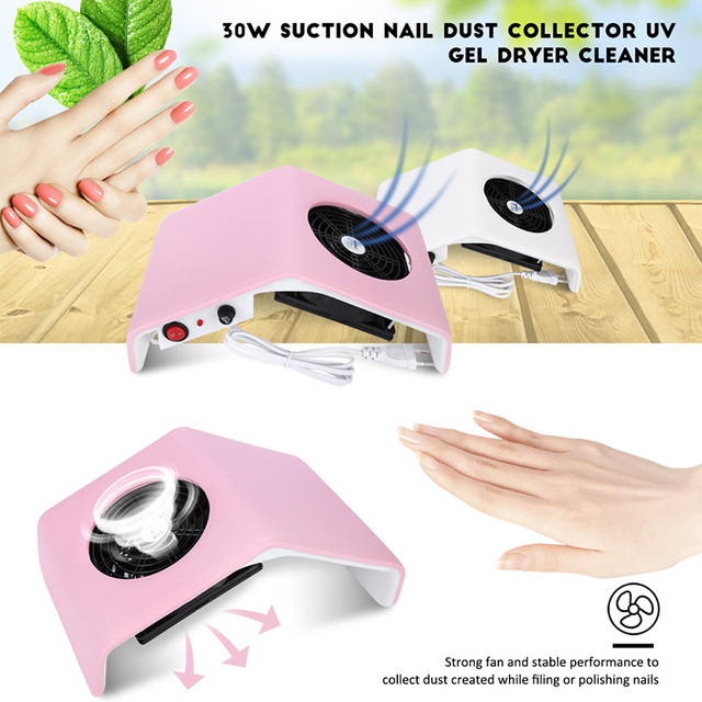 Gustala 220V/110V Nail Fan Acrylic UV Gel Dryer Machine Nail Dust Collector Art Salon Suction Dust Collector Vacuum 30W Cleaner