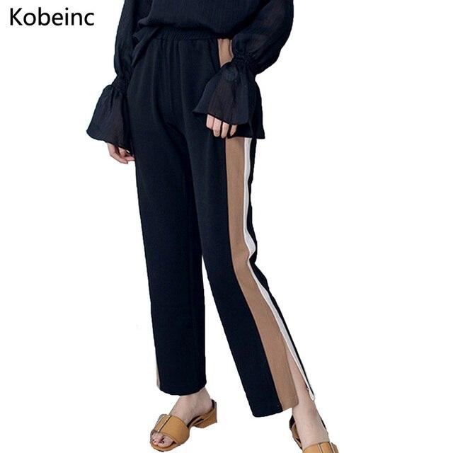 Elegant Hit Color Straight Pants Brief Patchwork Side Stripe Women Pants Elastic Waist Pantalones Fashion Split Women Trousers