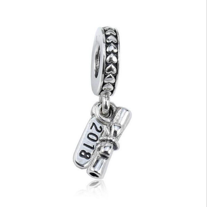 dca633f32 Graduation Scroll Pendant Charm 925 Sterling Silver Jewelry DIY Fits Pandora  Charms Bracelets 2018 Mother's Day Gift
