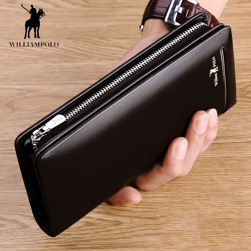 WILLIAMPOLO Men Business Long Male Wallet Long Genuine Leather Luxury Brand Men Zipper Clutch Wallet Wallet Leather Black PL219 mool anti spy signal bug rf detector camera lens gsm device tracer finder