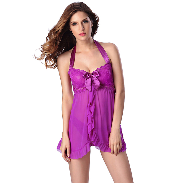 Looming Sexy Lingerie Women Babydoll Lingerie Bow Lace underwear Tie Neck straps Nightgown erotic/exotic Dress Size S,L,XL,XXL,M