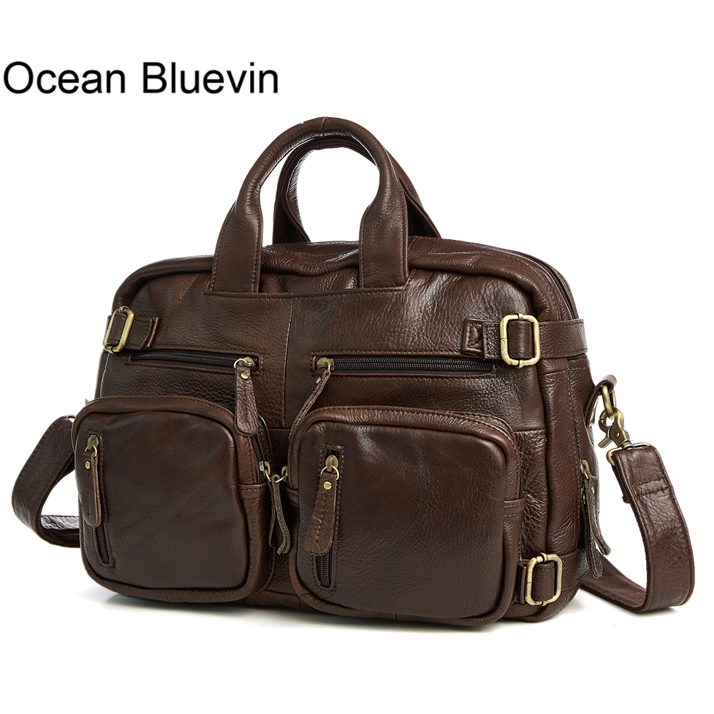 OCEAN BLUEVIN New Hot Designer Handbags Genuine Leather Travel Bag Men Travel Bags Vintage Luggage Large Duffle Bag Weekend Bag pair of retro rhinestone faux pearl petal shape earrings for women