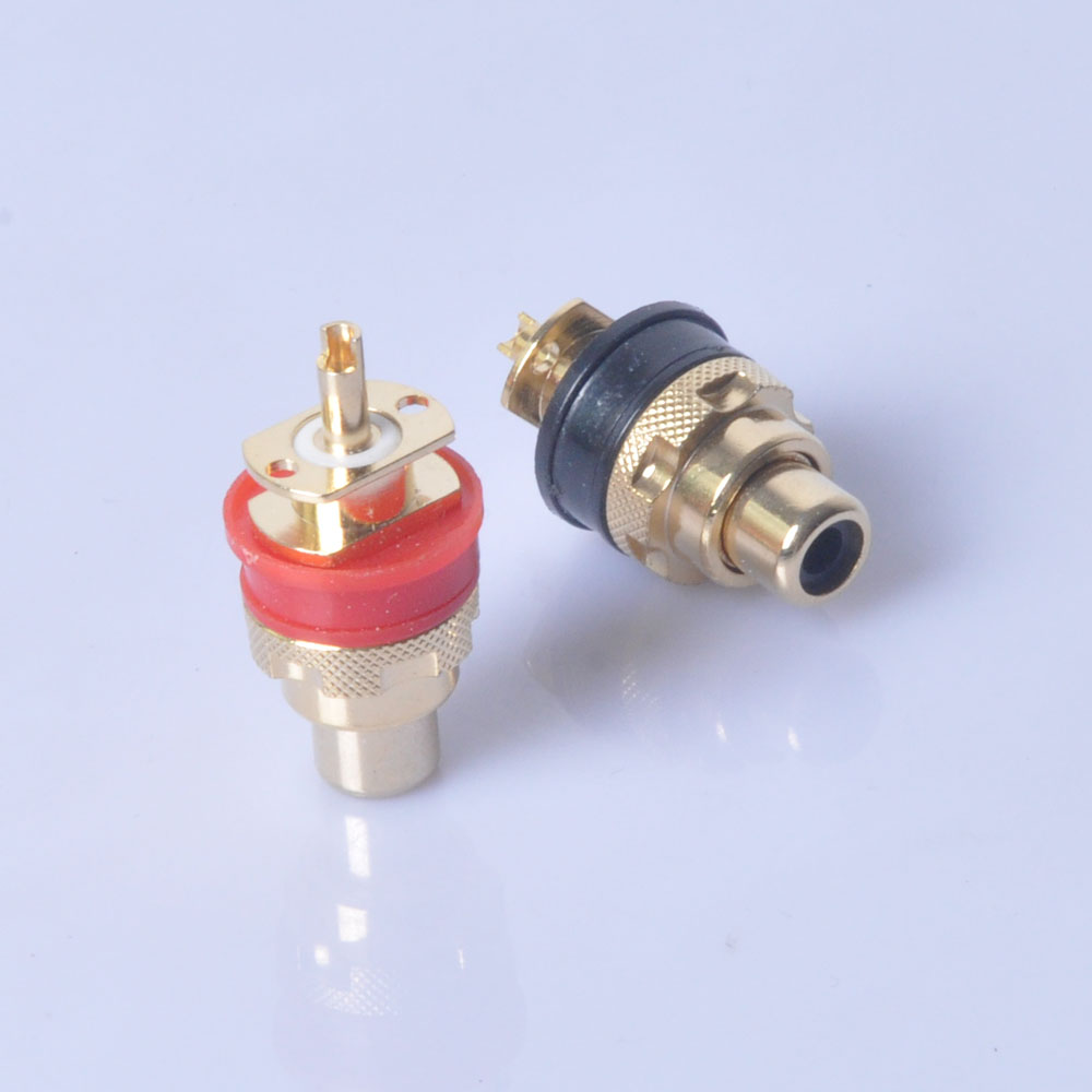 Gold Amplifier RCA Jack Female Chassis Connector 4pcs