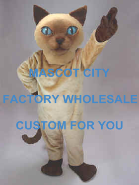 Siamese Cat Mascot Costume Cartoon Character Adult Size Theme Carnival Party Cosply Mascotte Outfit Suit FIT Fancy Dress SW976