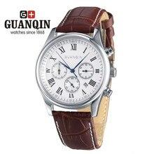 Famosa Marca GUANQIN Hombres Relojes de Lujo Reloj Mecánico de Los Hombres A Prueba de agua Grande Del Dial Hombres Reloj Reloj Relogio masculino reloj