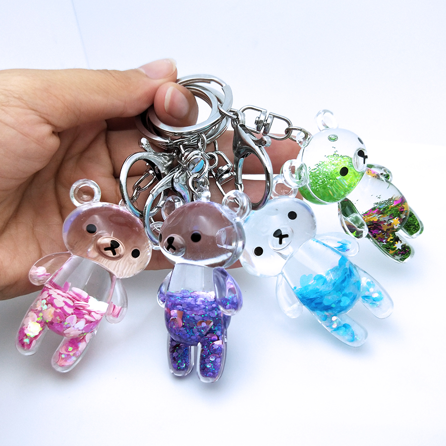 Moving Glitter Quicksand Colorful Liquid Keyring Cute Bear Acrylic Key Chain Car Bag Pendant For Couples Women Men Keychain Gift