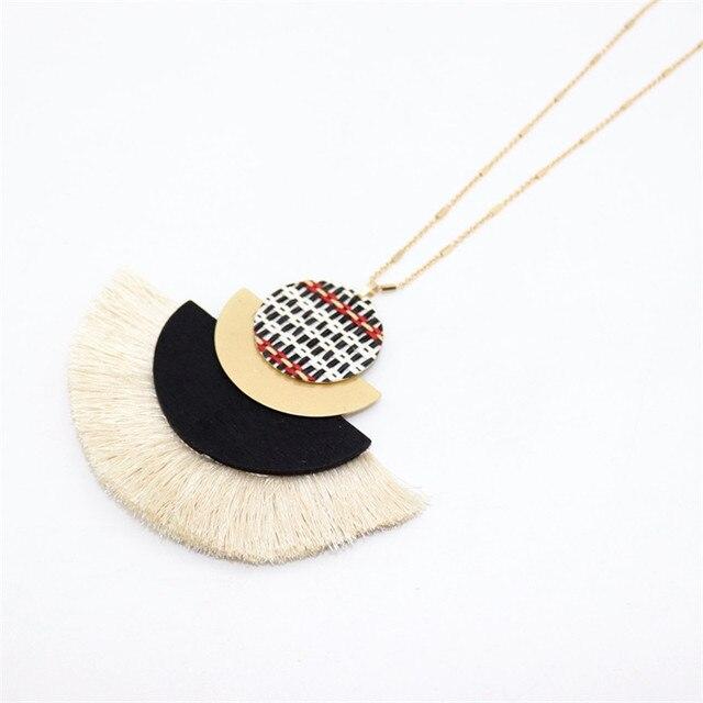 XQ2019 new alloy semi-circular tassel long necklace chain woven sweater chain fashion woman jewelry accessories color beautiful