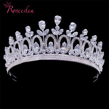Shiny Crystals Rhinestones Cubic Zircon Wedding Tiara CZ Bridal Bridesmaids Queen Princess Pageant Party Crown RE3467