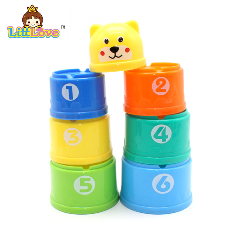 LittLove 9Pcs / Set Toy Bayi Lucu Pendidikan Pembelajaran Kecil Jenga - Mainan pembinaan - Foto 2