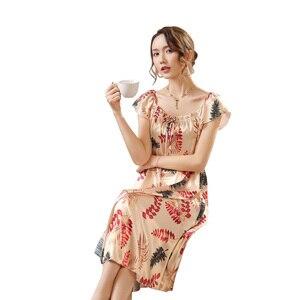 Image 4 - Ladies Nightgown Sleepwear Fashion Small Flower Women Nightgowns Printed,Hot Sale Plus Size 4XL Silk Nightwear For Summer,Autumn
