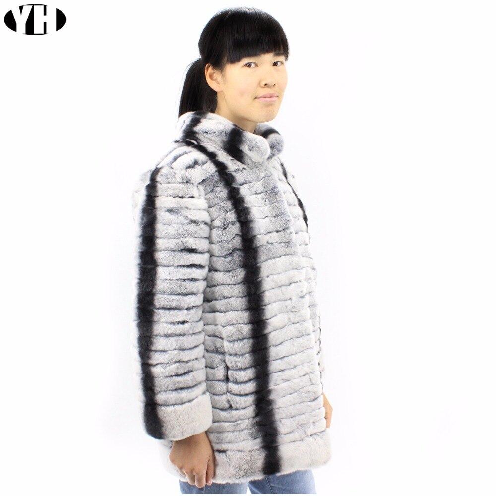 Plus Pour Fourrure Manteau Chaude Réel Mode Survêtement Outwear 2018 Taille Et Rex Chinchilla Femmes Lapin Douce De Veste Lady Rayé qwnfU7SZ