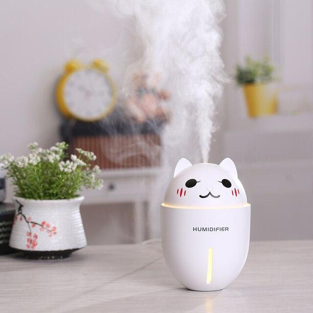 Cute Pet Humidifier Creative Gifts 3-in-1 Multifunction USB Dekstop Diffuser Cartoon Cat Air Humidifier With Fan Table Lamp