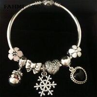 FAHMI 100% 925 Sterling Silver Winter Christmas Bracelet Set Snowflake Daisy Bow Flock Bag Glass Charm Women Original Jewelry
