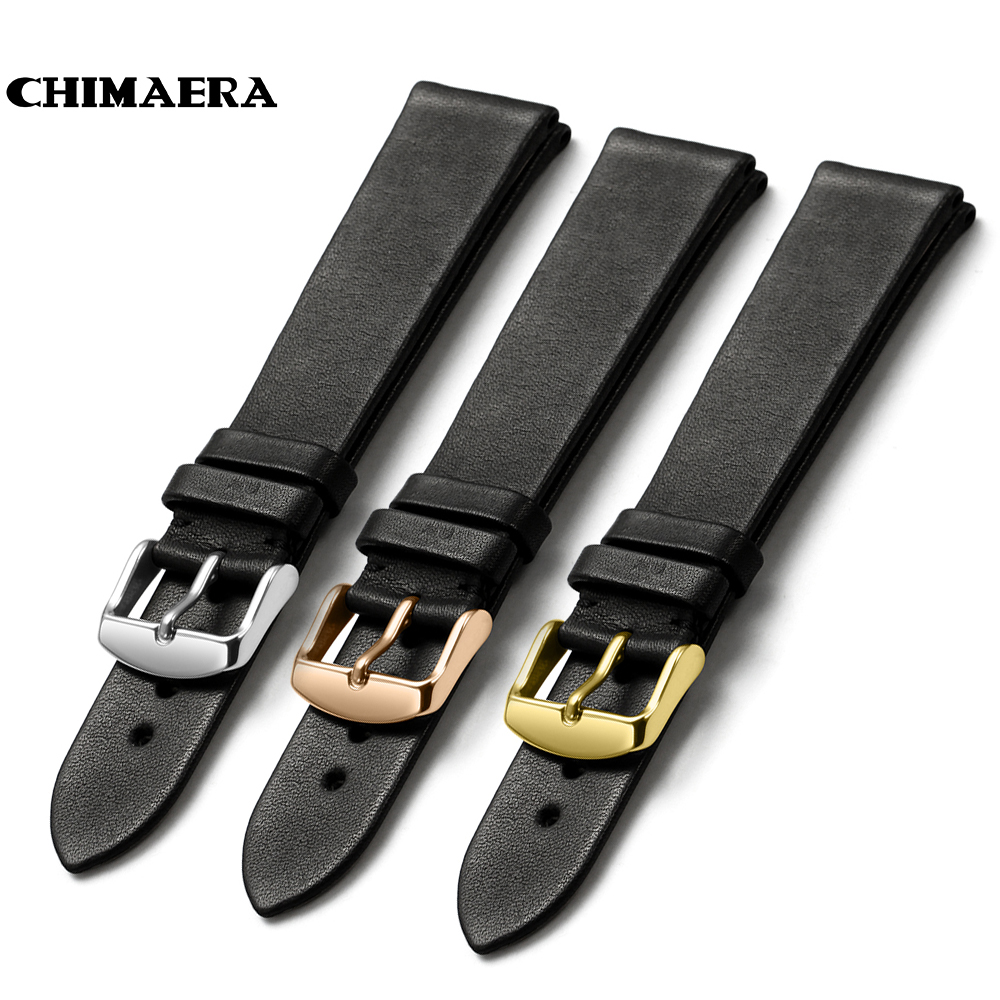 CHIMAERA 18mm 19mm 20mm 21mm 22mm Black Watchband France calf leather Watch band Strap with Pin buckle For Tissot Casio Seiko black blue gray red 18mm 20mm 22mm waterproof silicone watchband replacement sport ourdoor with pin buckle diving rubber strap