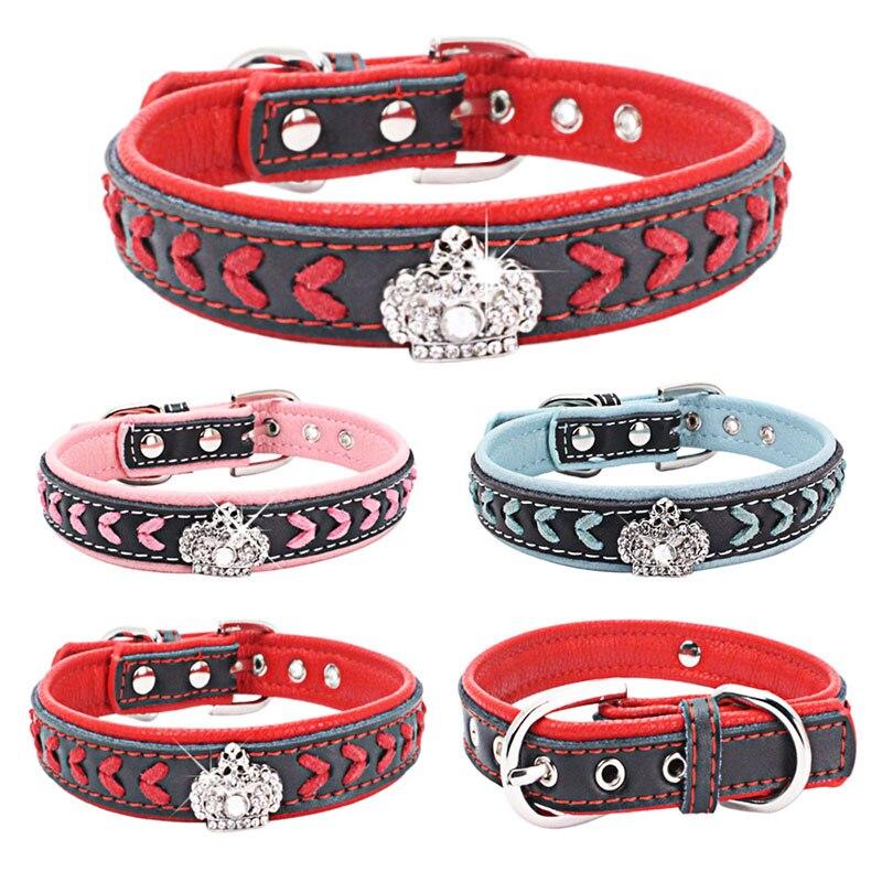 Soft Padded Adjustable Pet Dog Collar Handmade Braided Genuine Leather Dog Collars for Small Medium Large Breeds S M L XL
