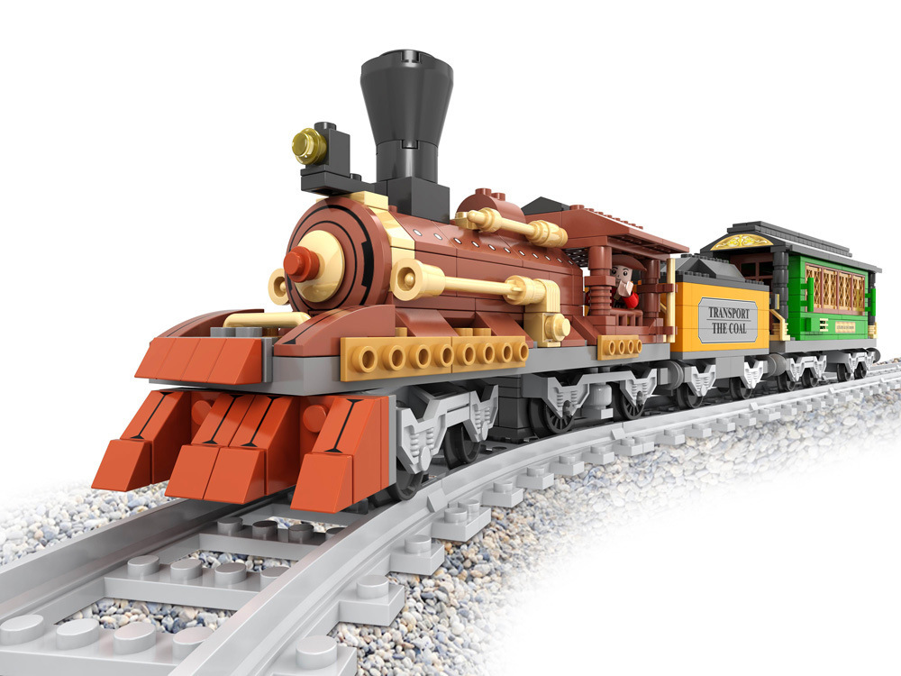 Ausini Train modèle 25809 fret train bloc de Construction ensembles 483 pièces éducatif puzzle bricolage éclairer Construction briques jouets