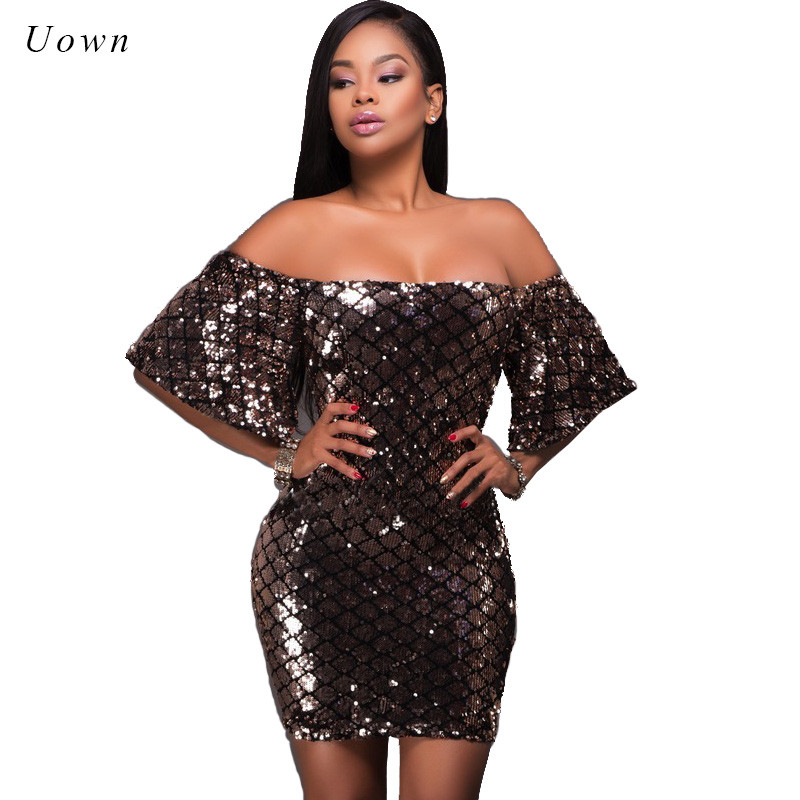 Off the shoulder lantejoula dress mulheres flare luva de slash neck Sparkly Glitter Sexy Noite Desgaste Do Clube Mini Partido Bodycon vestidos