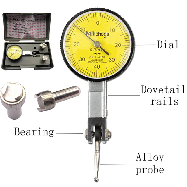 Accurate Dial Gauge Test Indicator Precision Metric with Dovetail Rails Mount 0-40-0 0.01mm Universal Measuring Instrument Tool