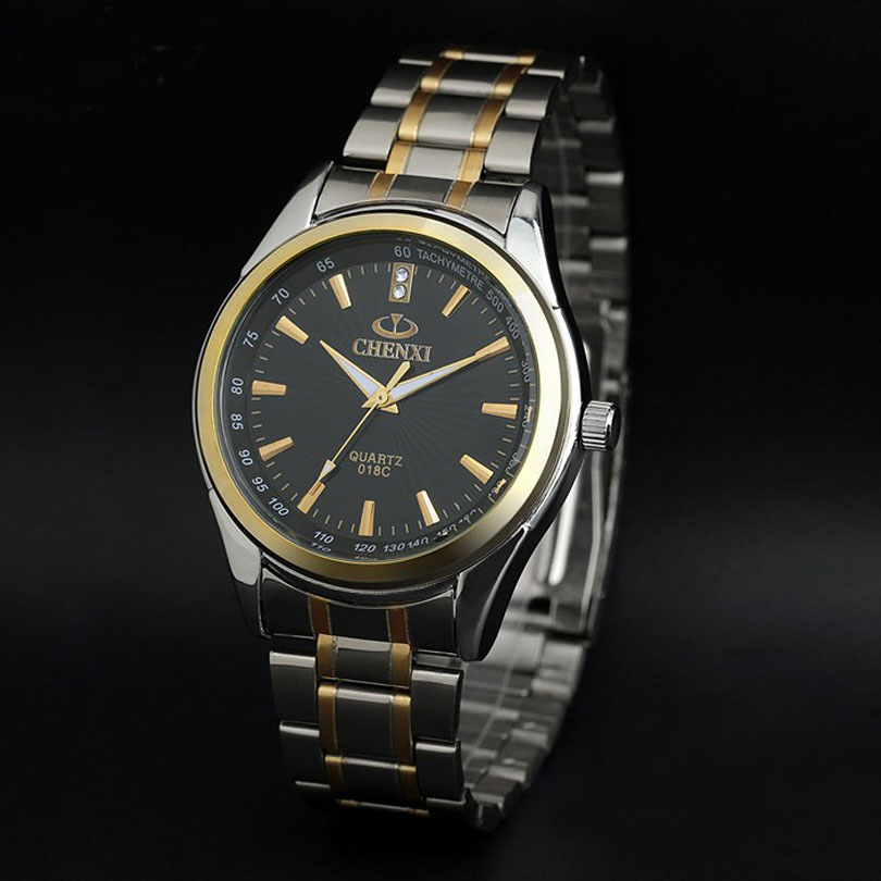 Prix pour Luxe top marque chenxi hommes robe montre en acier inoxydable or argent quartz montre-bracelet étanche rétro homme d'affaires horloge