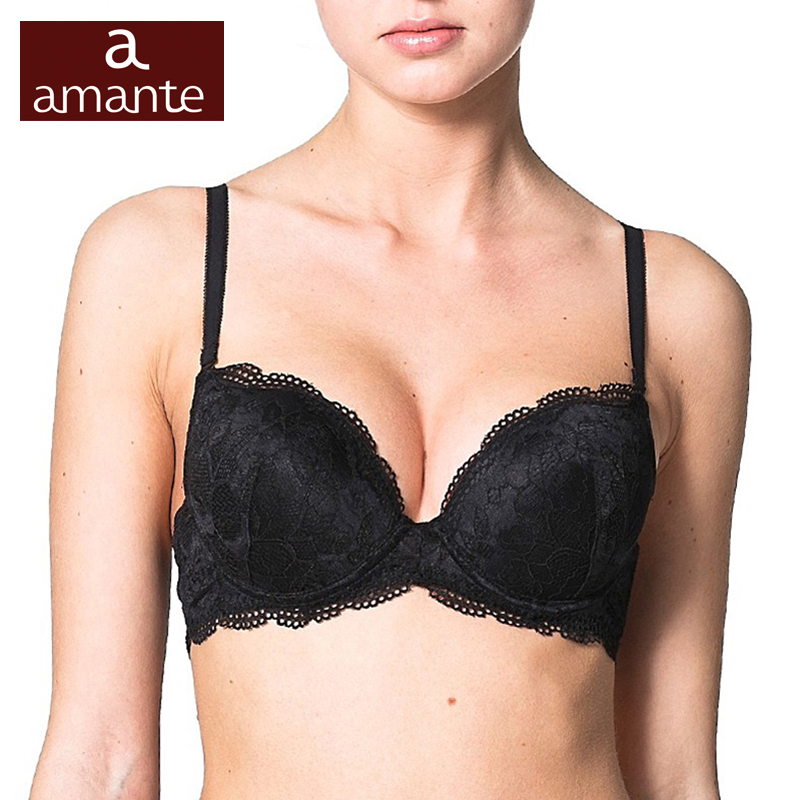 Woman's Bra Lace Black Push Up Cup Cotton Lining Large ...