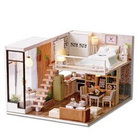 Brown 3D Wooden House Tinkering Wood Decorative Mini DIY Doll With Lights Cabinet Furniture Figurines Crafts From Wood Toys