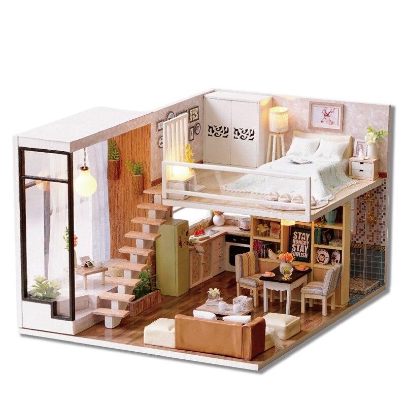 Brun 3D maison en bois bricolage décoratif en bois Mini bricolage poupée avec lumières armoire meubles Figurines artisanat de jouets en bois