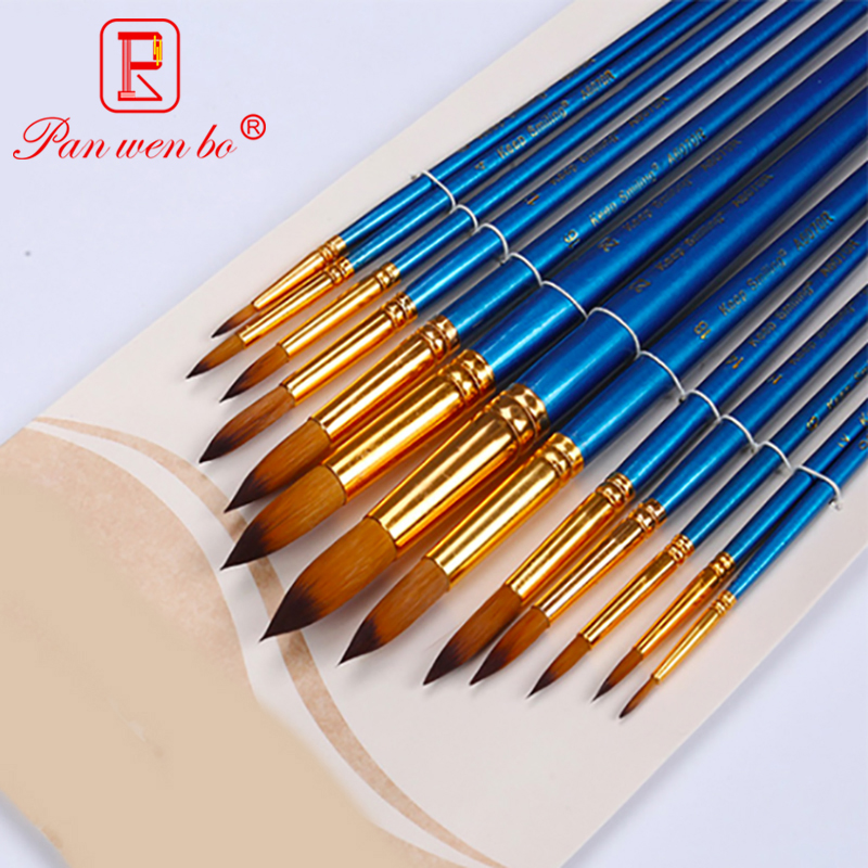12 Pcs Nylon Hair Watercolor Painting Brush Set Blue Wooden Handle Brush Acrylic Drawing Brush For Art Supplies