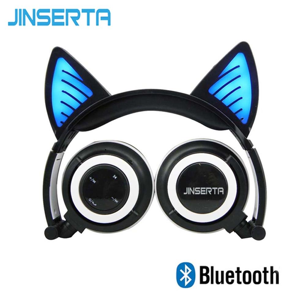 JINSERTA 2018 Bluetooth Wireless Cat Ear Headphones Folded Headband earphone with LED cosplay Headset For Mobile Phone PC Laptop