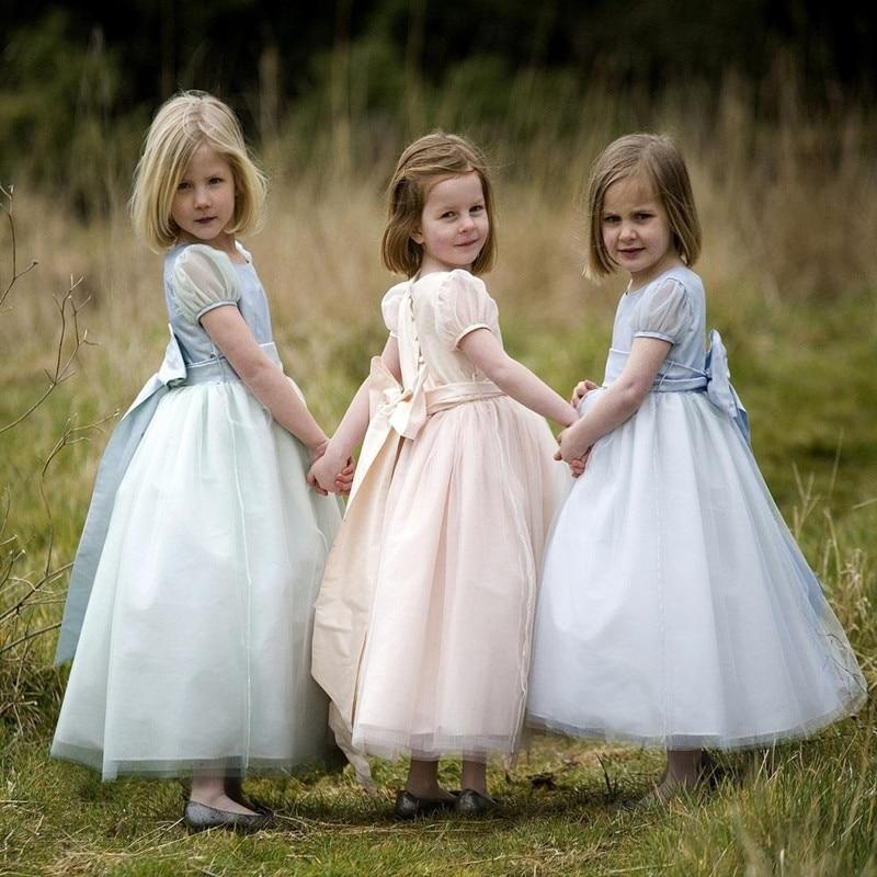 Elegant Little Princess   Flower     Girl     Dress   Kids Scoop Neck Long Prom Gown for Wedding Party Custom Made