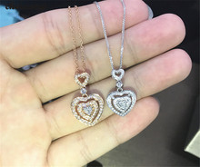 choucong Heart shape Pendants 5A Zircon Cz Real 925 Sterling silver Wedding Pendant with Necklace for women Bridal jewelry