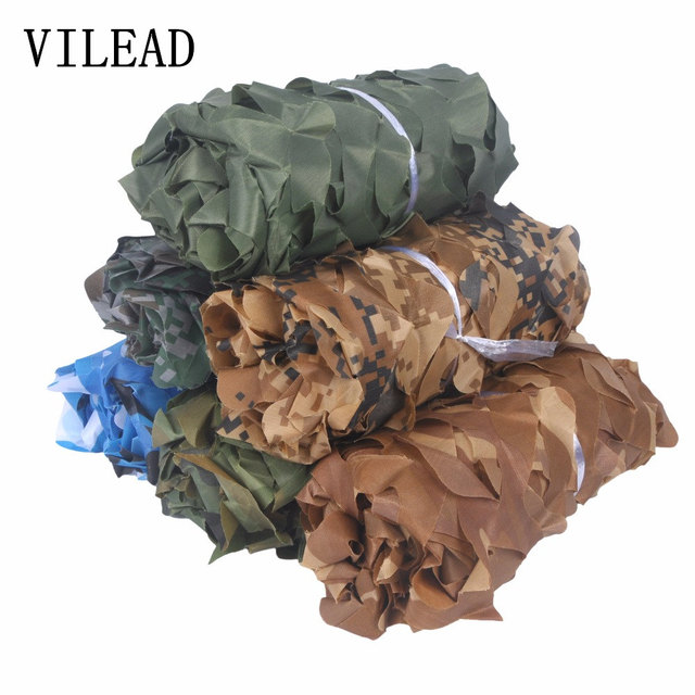 VILEAD простой 1,5 м * 6 м лесной синий зеленый пустынный камуфляжная сетка без края переплет солнцезащитный чехол для автомобиля