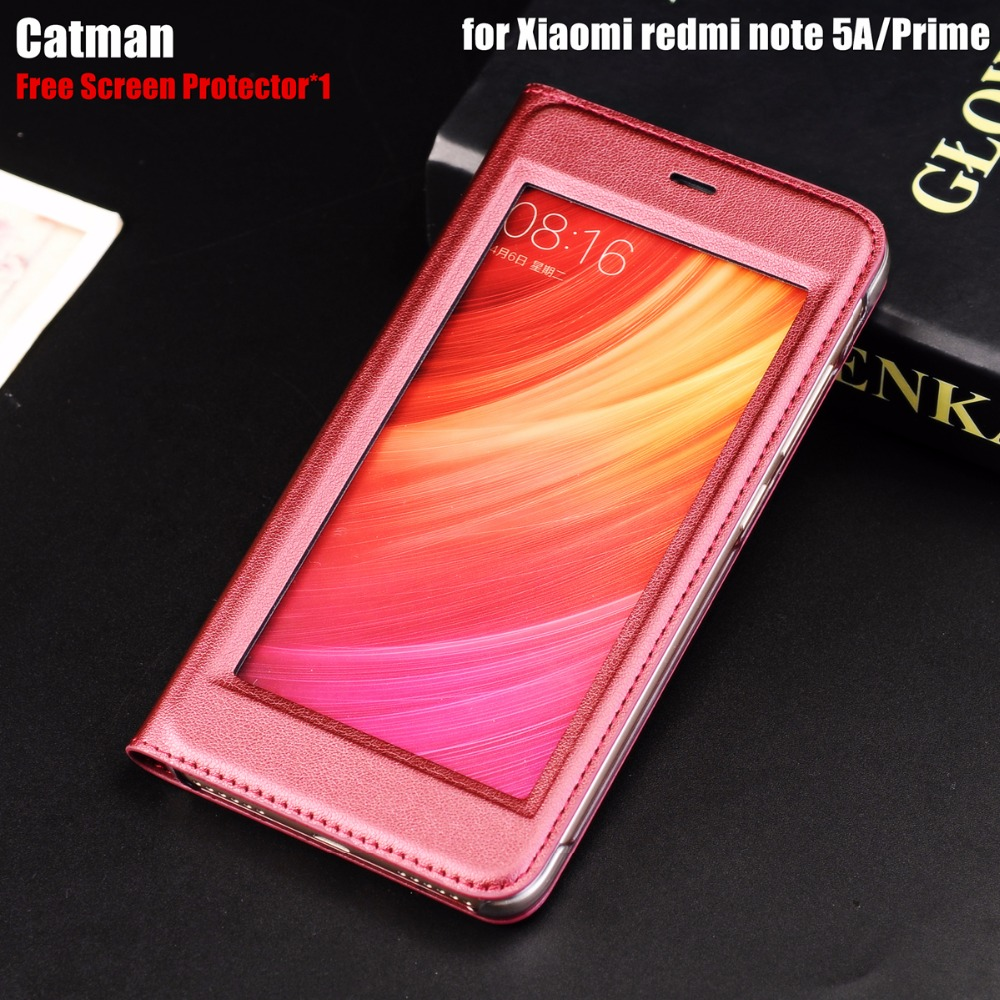 Xiaomi Redmi Note 5a Case Luxury Pu Leather Flip Cover Full View Resmi Tam Window Phone Shell For Prime Blog Store