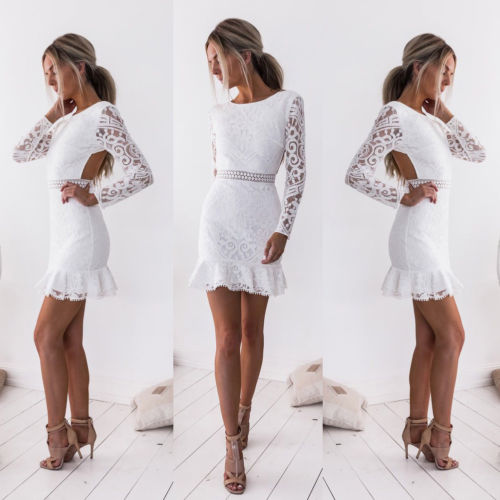 New Fashion White Lace Dress Women Sexy Long Sleeve Backless Dress Evening  Party Short Mini White 31f5bfdec325