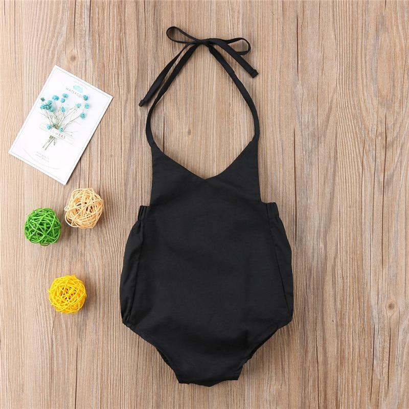 Discreet Peuter Baby Baby Meisjes Zwart Halter Black Opknoping Led Romper V-hals Backless Jumpsuit Kleding Outfits Yu