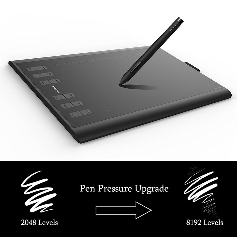 New Huion 1060 Plus Digital Drawing Tablet 8192 Level Graphic Tablet Drawing 5080 LPI with 8G Memory Artist Glove as Gift image