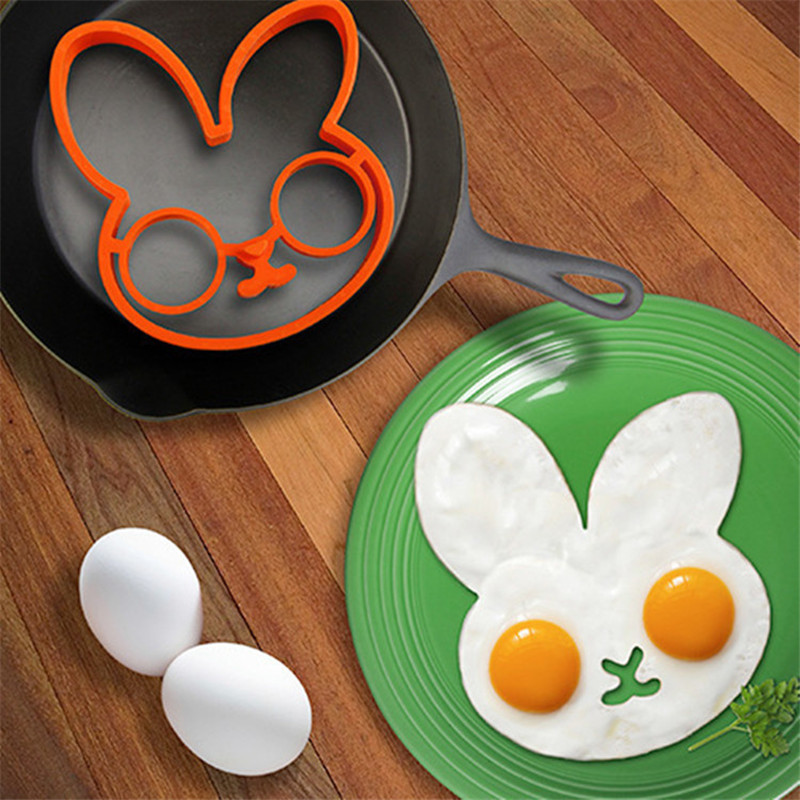 Fashion 1Pc New Orange Silicone Rabbit Face Shaped Egg Cooking Molds Pancake Ring Mould Kitchen Tools Gadget
