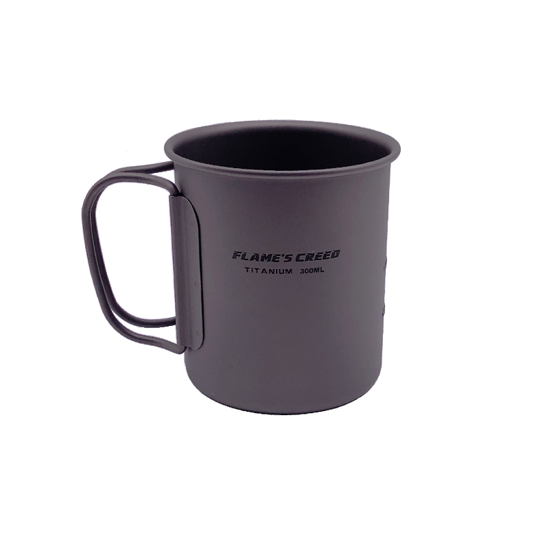 FLAME'S CREED Ultralight Titanium Cup Outdoor Camping Picnic Water Cup Mug With Foldable Handle 300ml