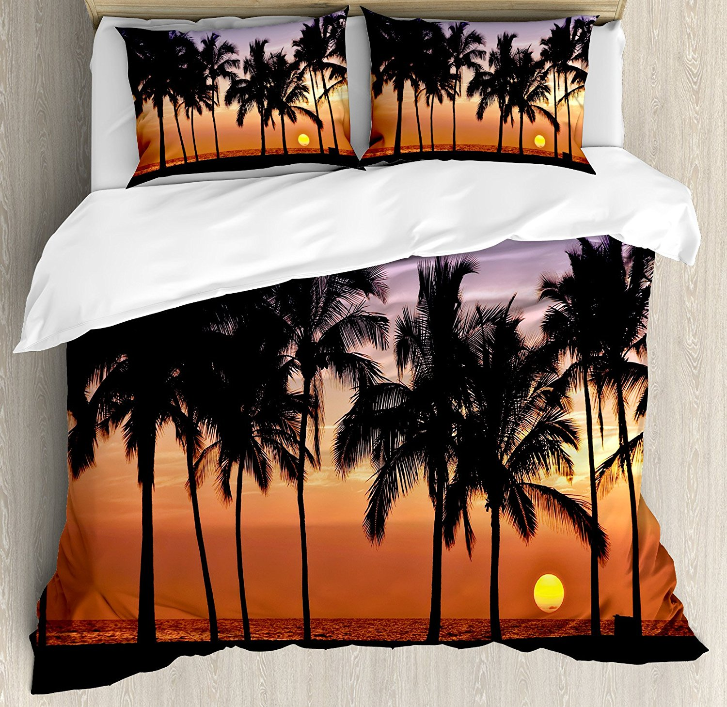 Duvet Cover Set Hawaiian Sunset on Big Island Anaehoomalu Bay Tropic Horizon Ocean Romantic Resort, 4 Piece Bedding Set