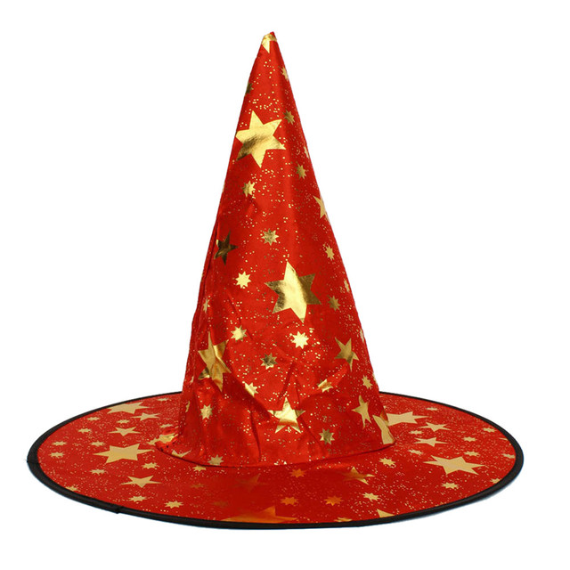 New Adult   kids Womens Mens Witch Hat For Halloween Costume Accessory  Stars Print Cap Halloween Costumes gift Halloween Hat Hot 832044e8864