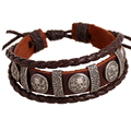 ER Male Brand Cool Genuine Leather Braided Friendship Skull Bracelet Homme Charms Biker Mens Multilayer Jewellery LB001