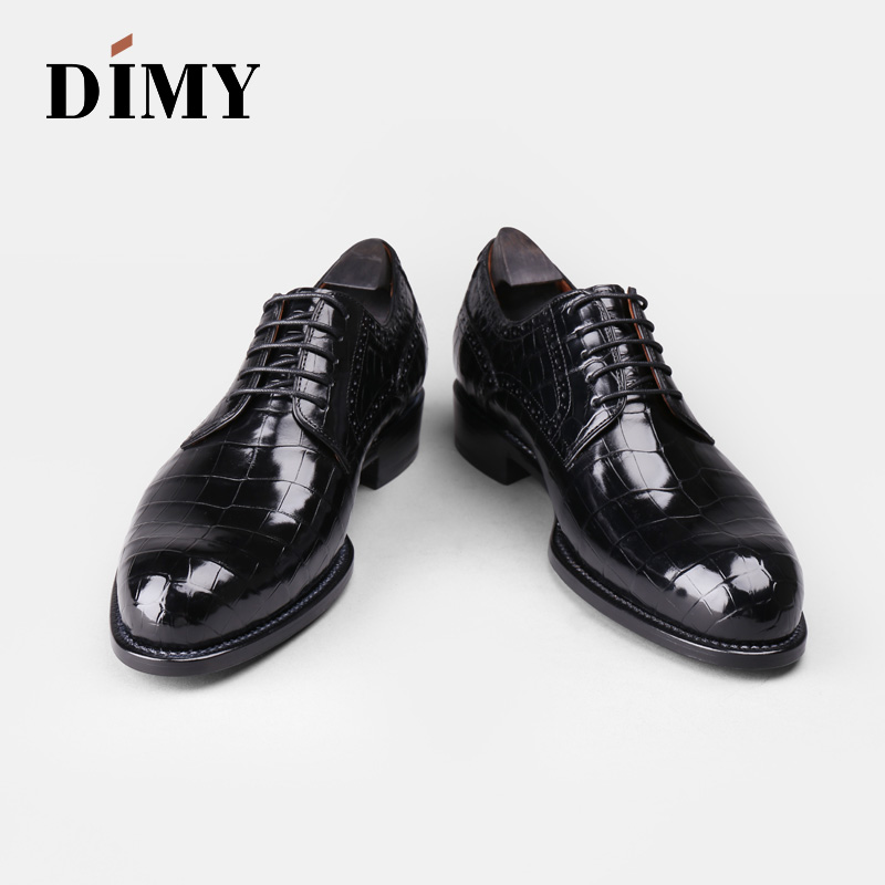 DIMY 2019 Goodyear custom hand painted crocodile leather men 39 s leather dress derby shoes business British wind in Men 39 s Casual Shoes from Shoes