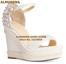 ALMUDENA Designer Wedges Gladiator Sandals Platform Bradied White Beige Black Rivets Wedding Shoes Studded Embellished Pumps black fashion jewelry embellished flat sandals