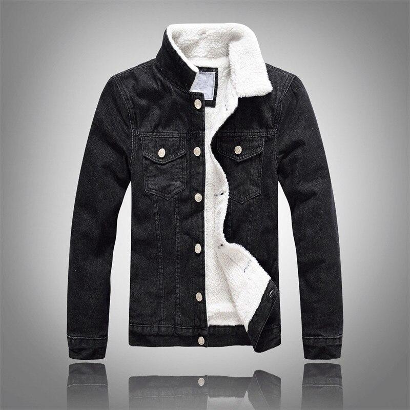 Джинсовая куртка мужская зимняя Черная мужская куртка-бомбер модная мужская куртка плюс бархатное пальто для отдыха