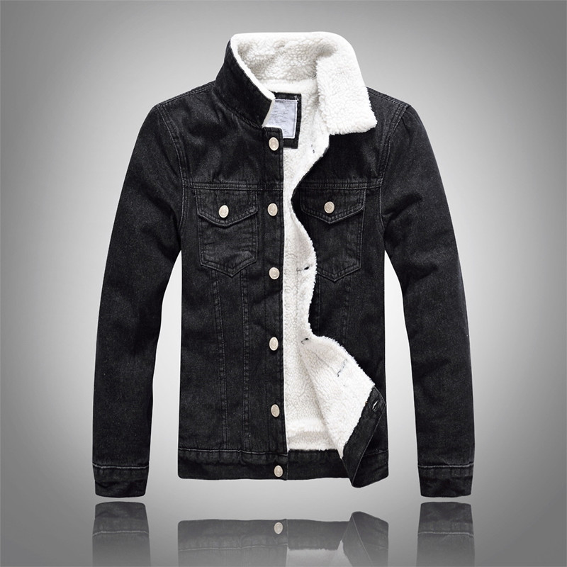 Jeansjacke Männer Winter Schwarz Männlichen Bomberjacke Mode Männer Jacke Plus samt Freizeit mantel