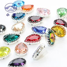 Metel Claw Crystal Sew On Rhinestone Colorful Flatback Rhinestones For Clothing Dress WaterDrop Glass Decorative Stones S143