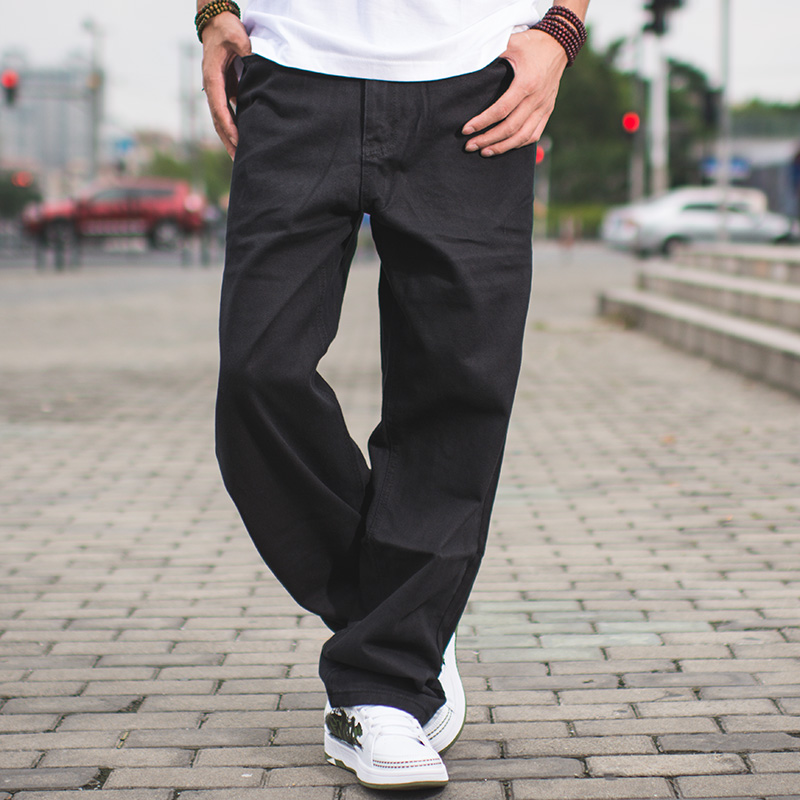 Herre Streetwear Casual Loose Fit Sort Jeans Mandlige Hip Hop Jeans - Herretøj - Foto 3